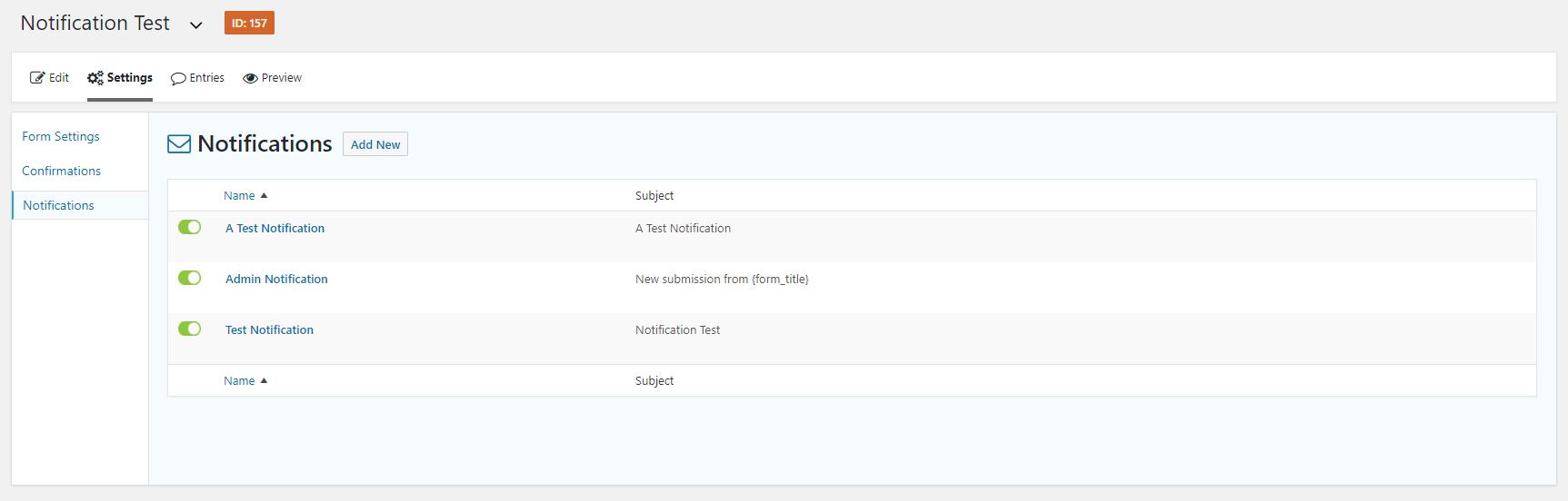 gravityforms notification list