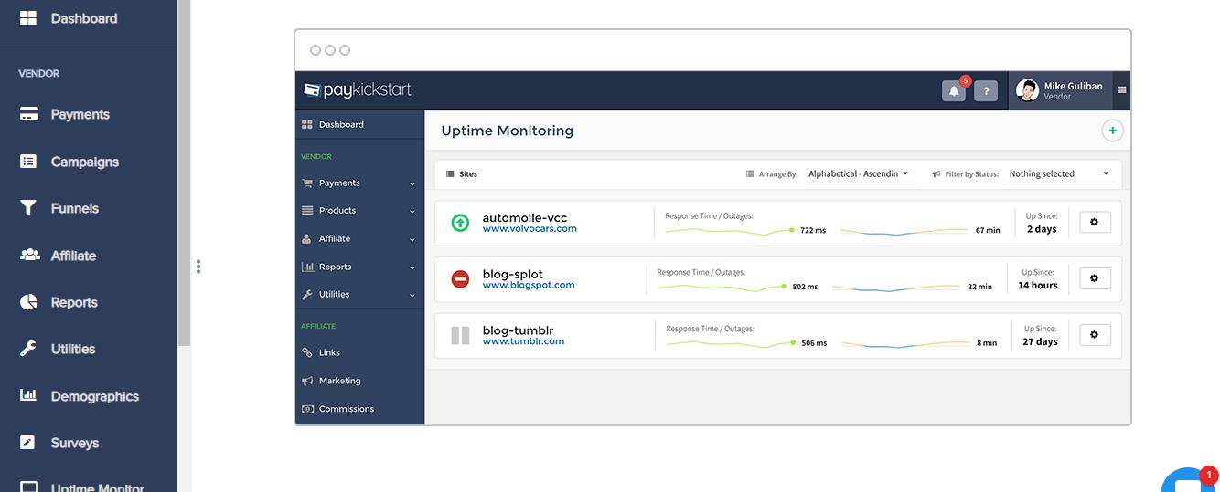 uptime monitoring in paykickstart