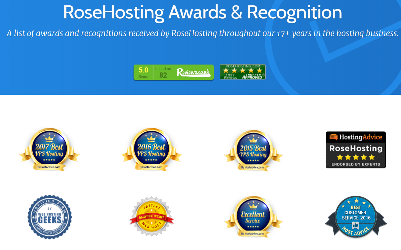 RoseHosting Review With Coupon Codes- Awards Recognition