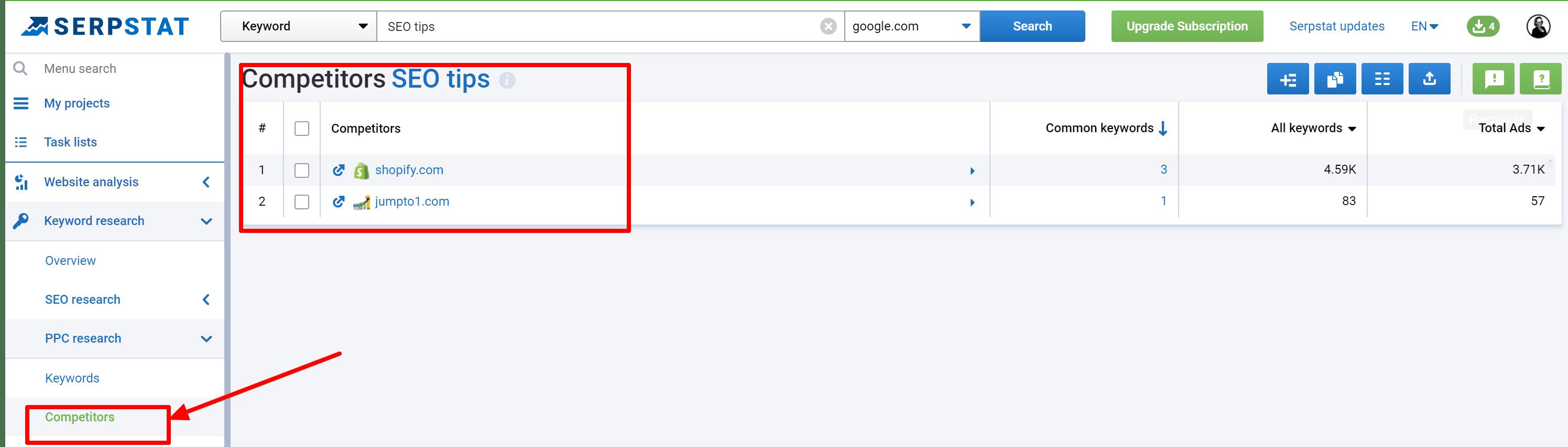 Serpstat PPC tool