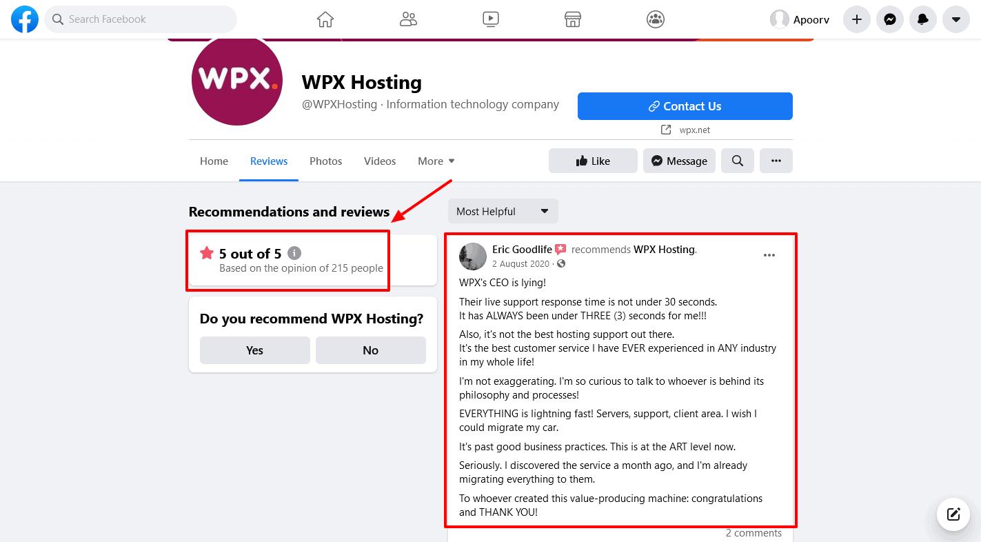 WPX-Hosting Reviews-Facebook