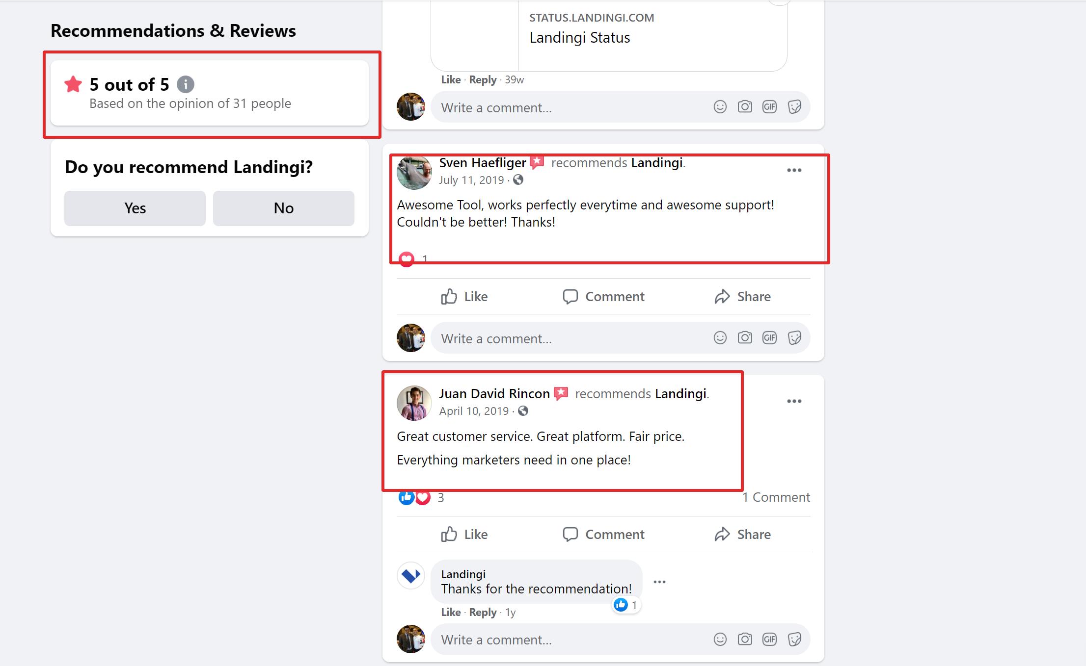 landingi testimonials social media
