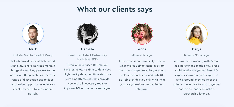 Bemob customer testimonials