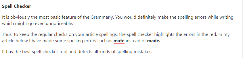 Grammarly spell checker