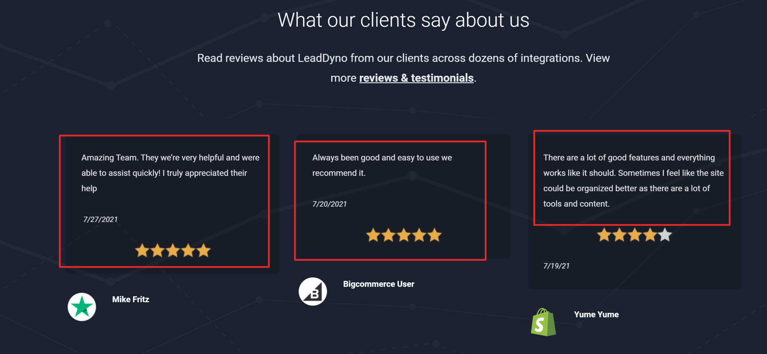 Leaddryno customer reviews