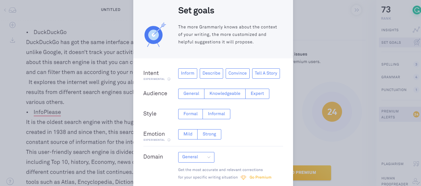 Review on Grammarly- set goals