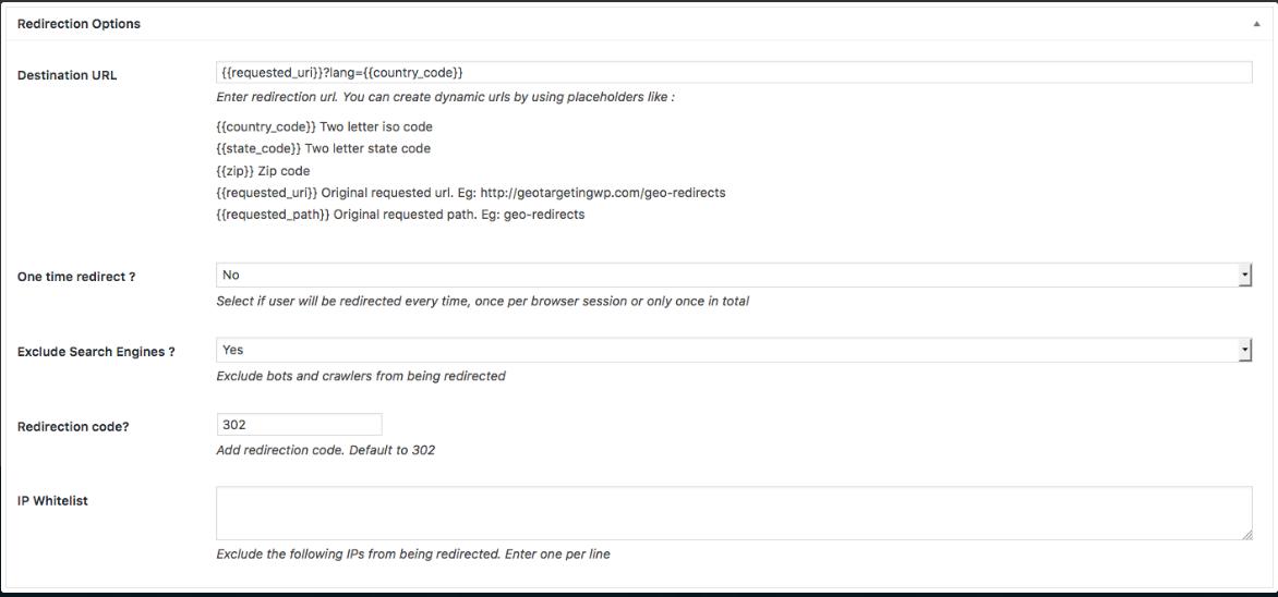 Georedirect plugin for wordpress