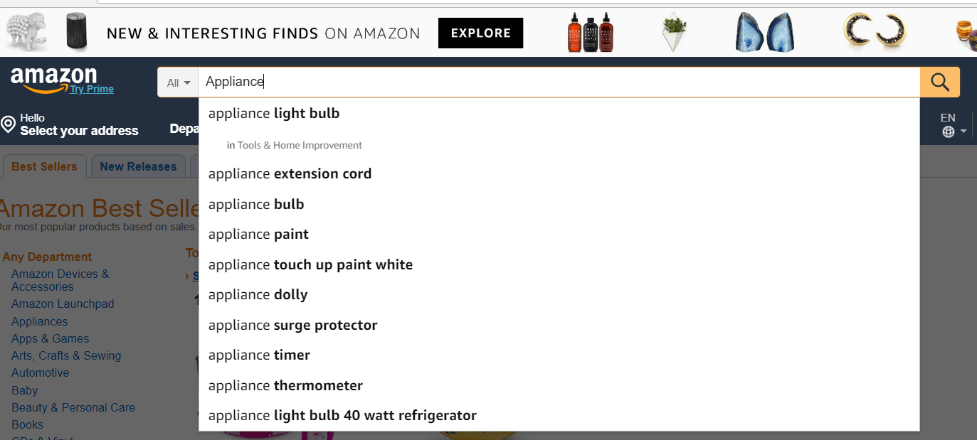 How To Find Products To Sell On Amazon- Use Amazon Search Box