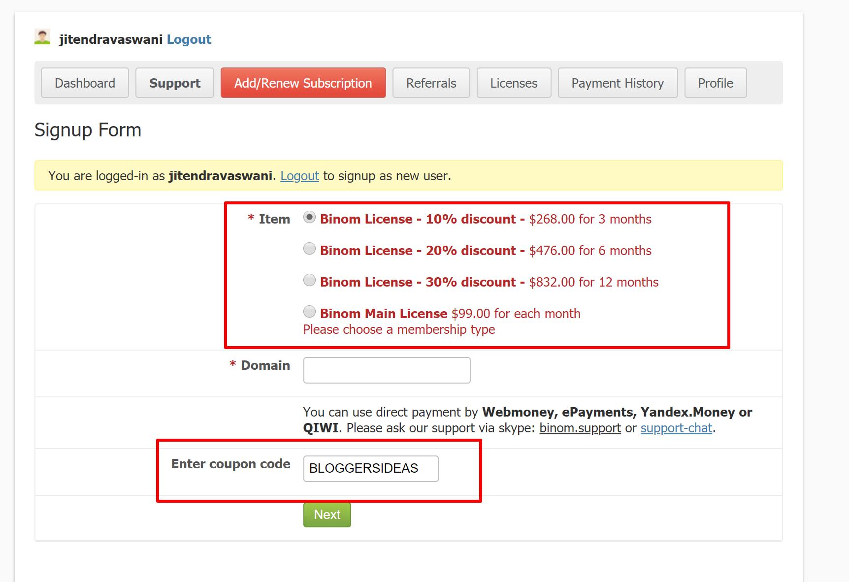 binom tracker discounts