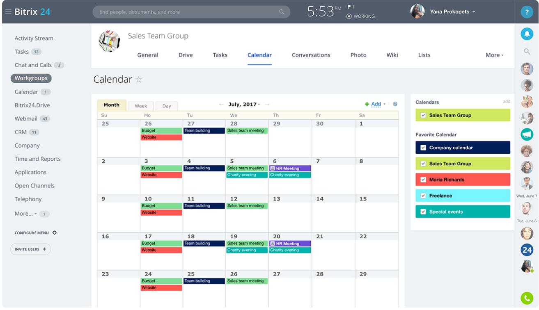 Bitrix24 Review- Free Shared Calendars