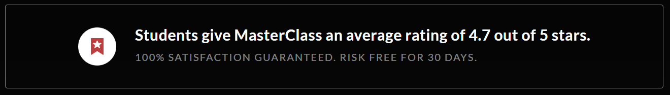 MasterClass Discount Coupon Codes- Ratings