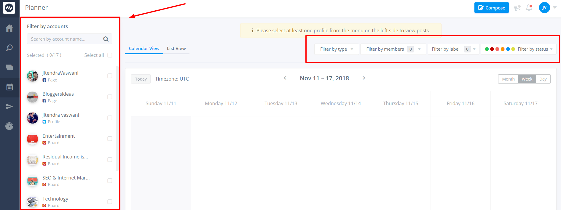 ContentStudio Review- Planner