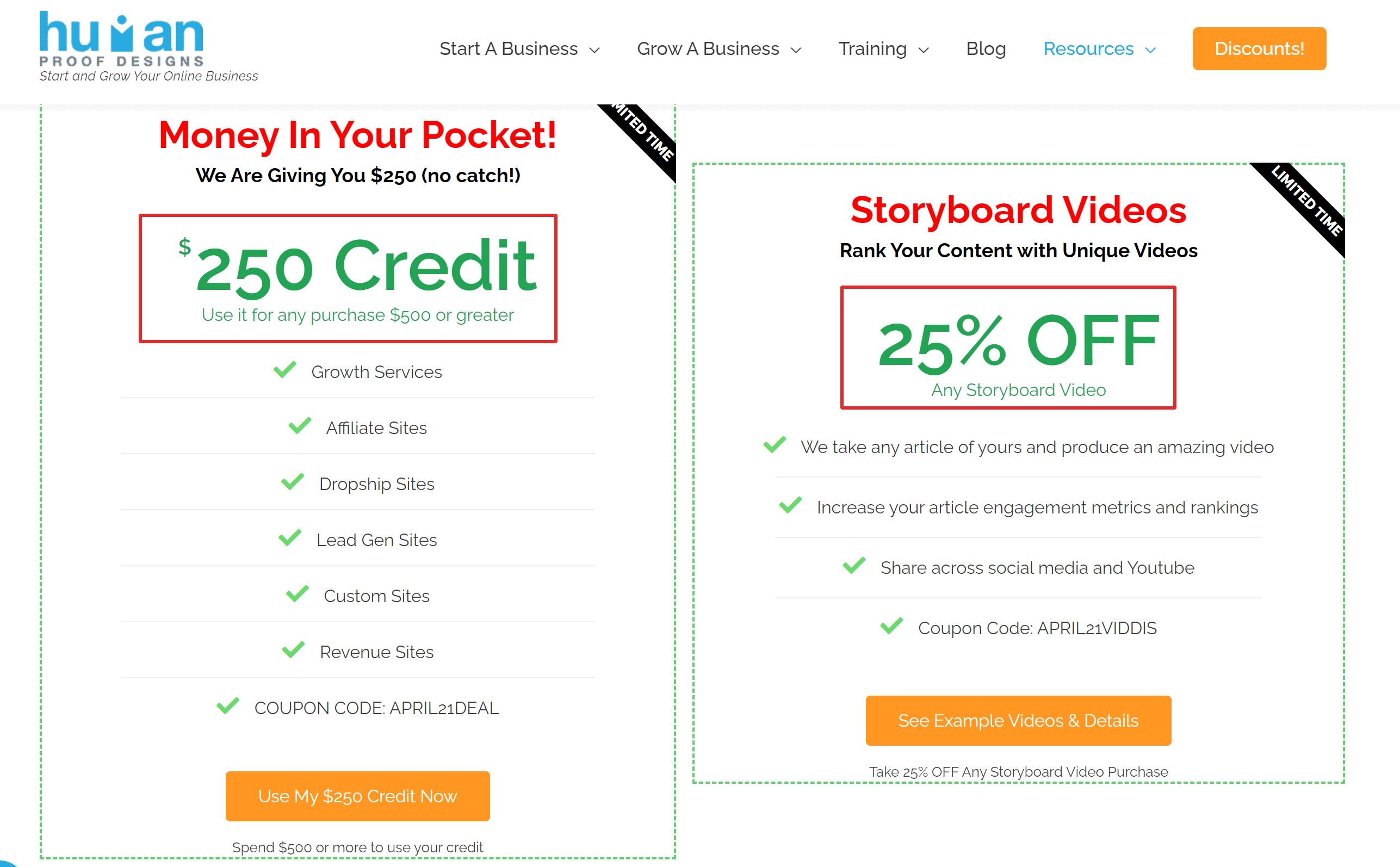 Human Proof Designs Free credit