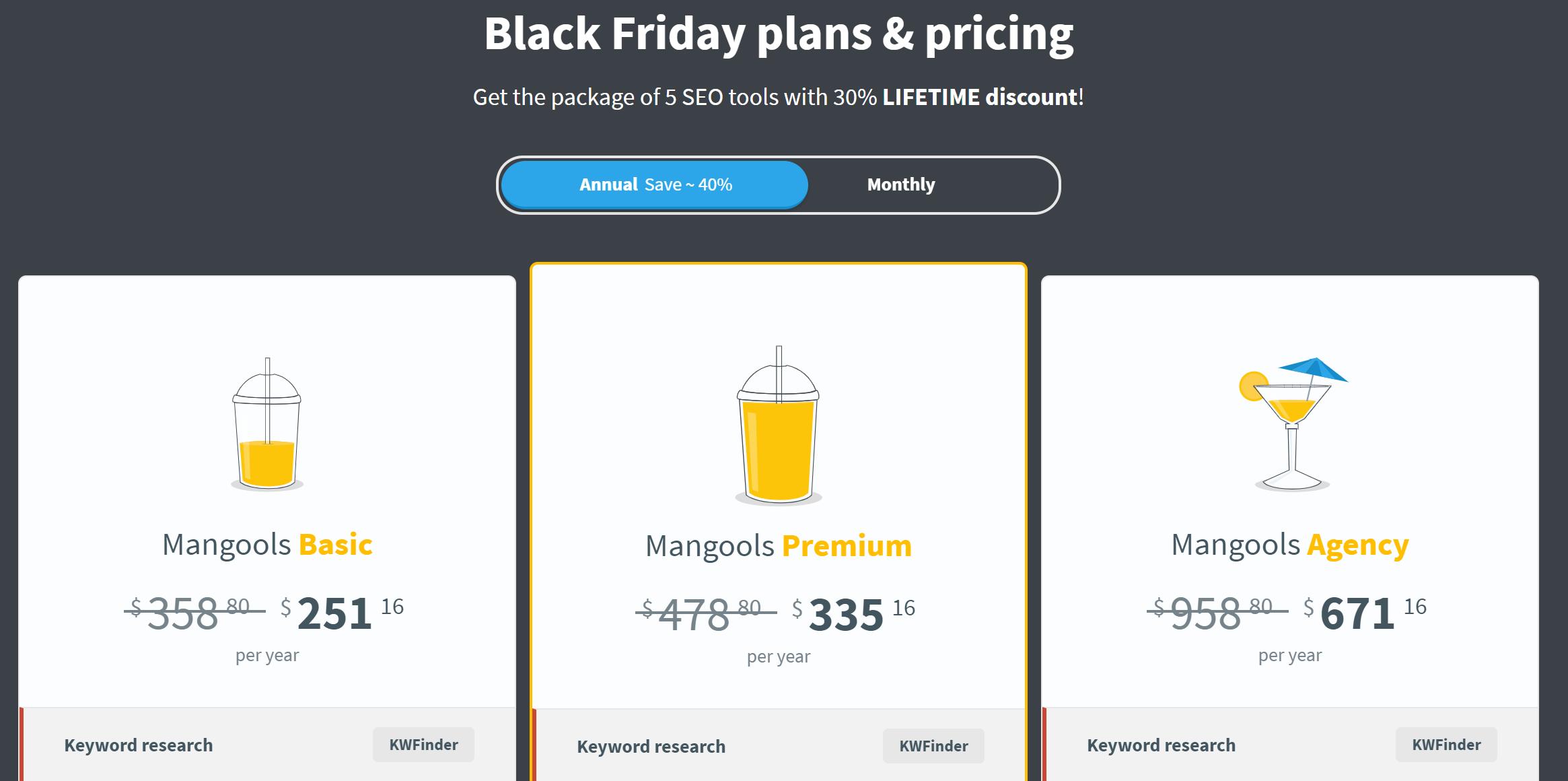 Mangools Black Friday Plans & Pricing