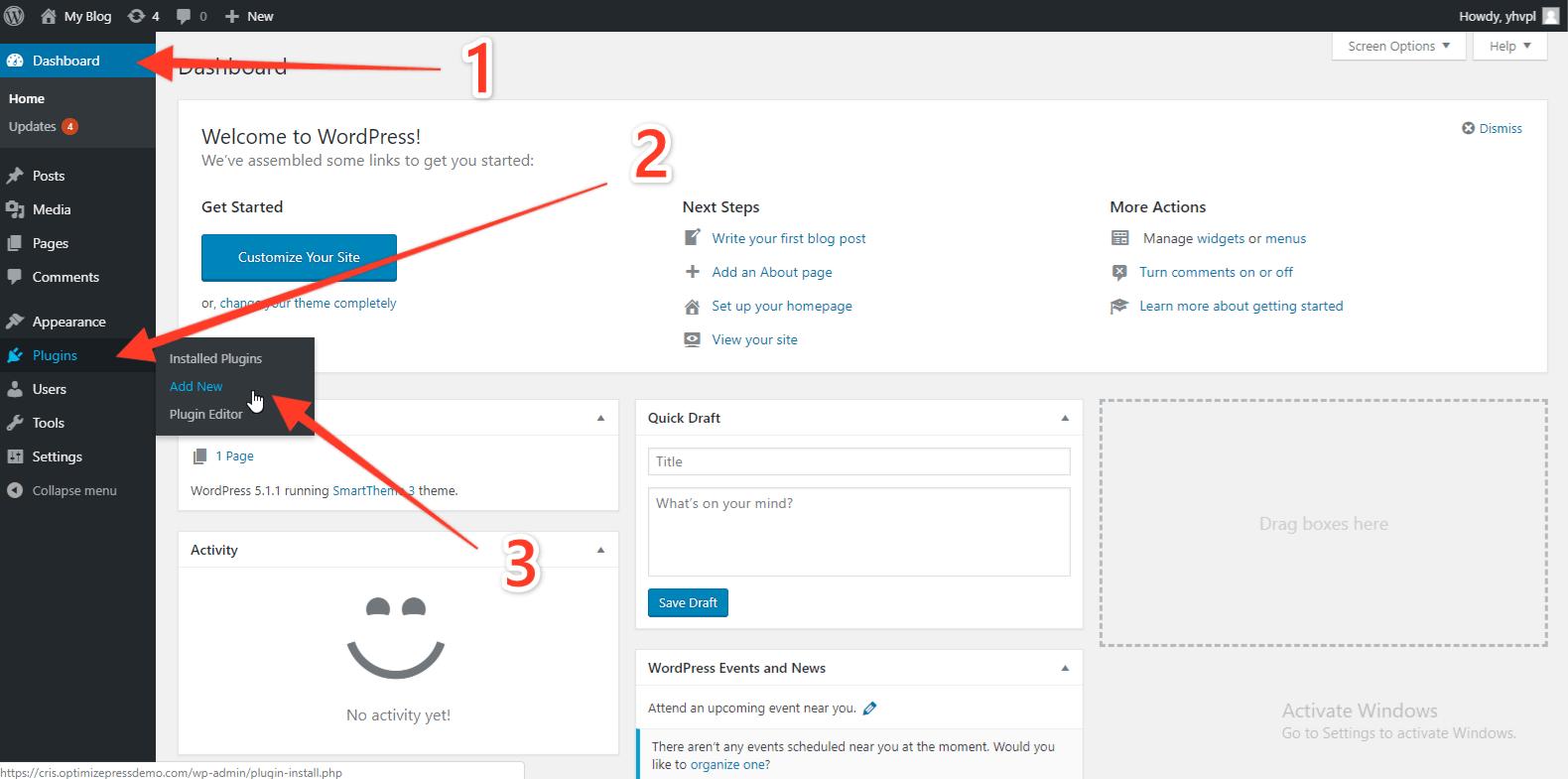 OptimizePress 3 Install Step 1