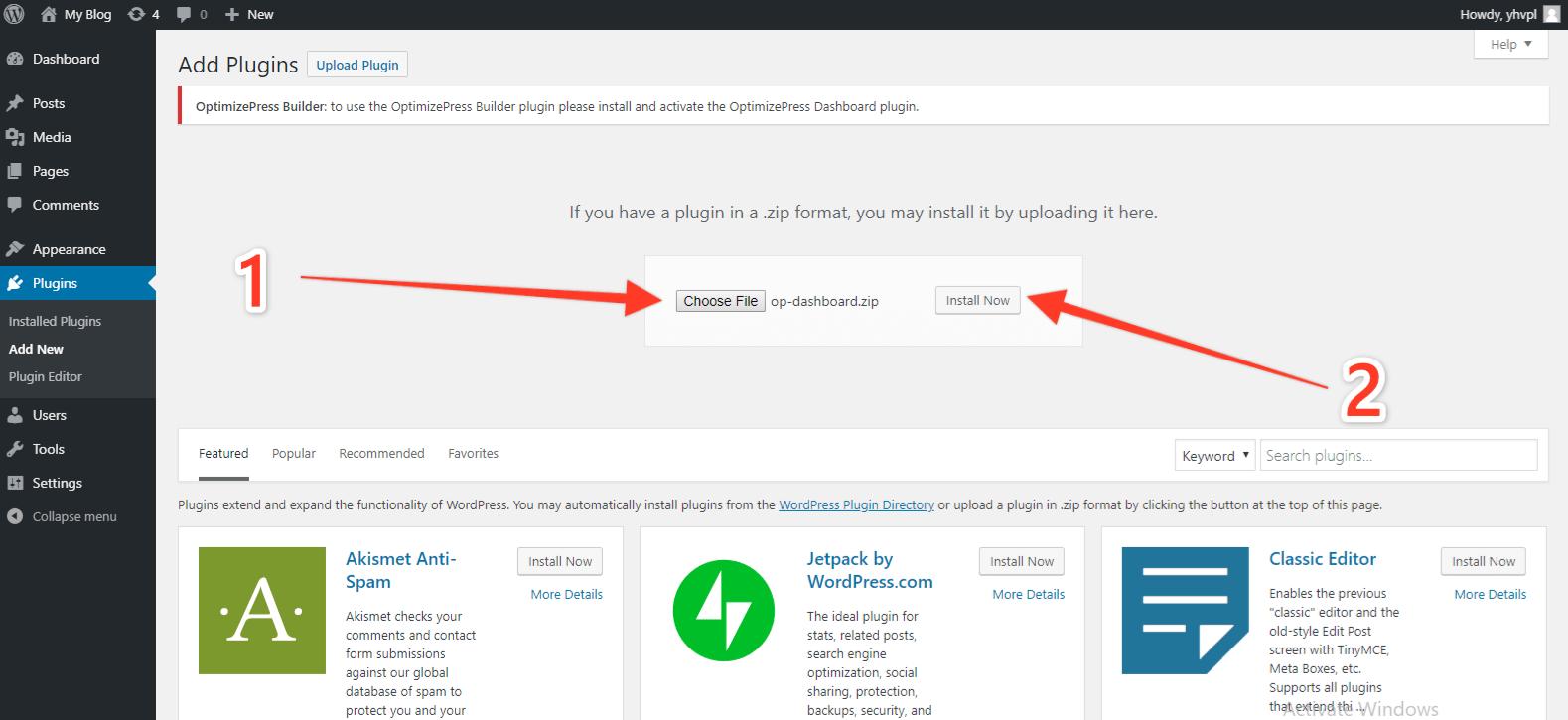 OptimizePress 3 Install Step 4