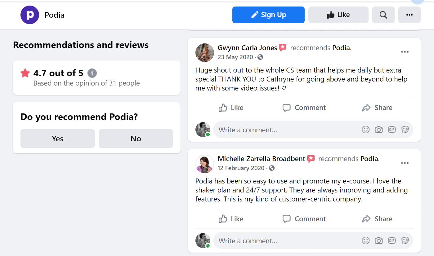 Podia Facebook Reviews