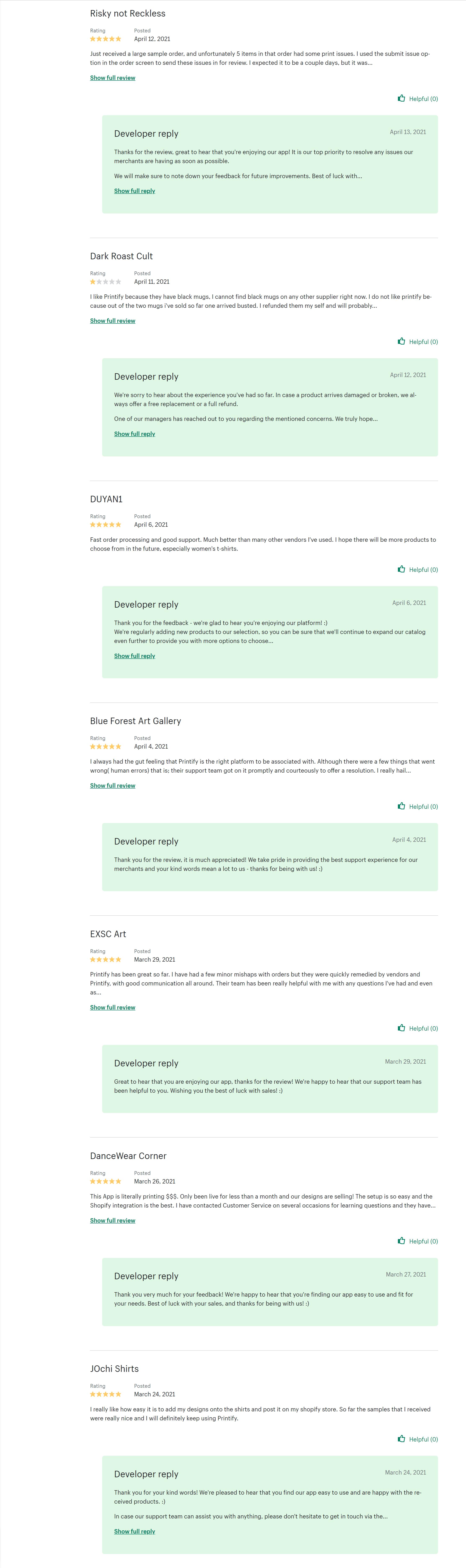 Printify Print on Demand App Reviews