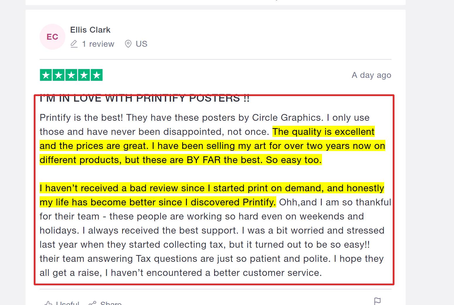 Printify customer reviews online