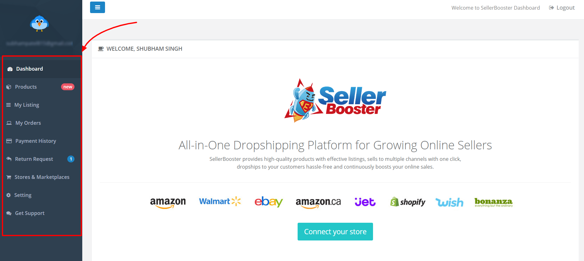 SellerBooster Review- Dashboard