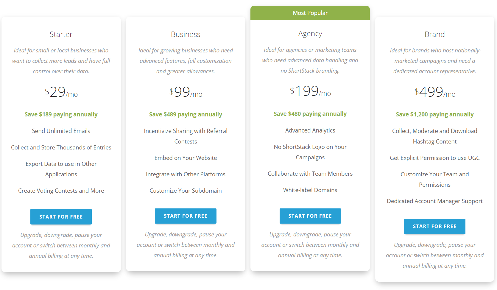 ShortStack Review- Pricing Plans