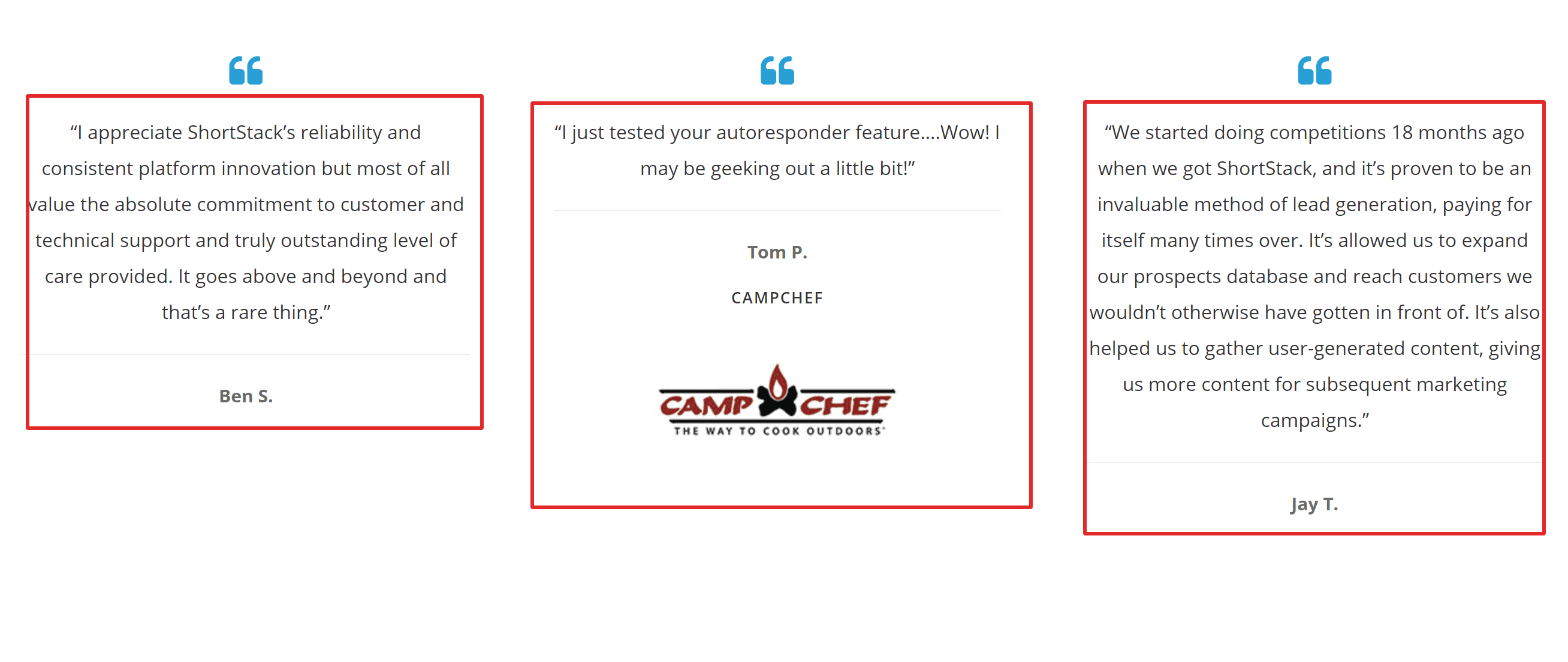 Shortstack customer testimonials