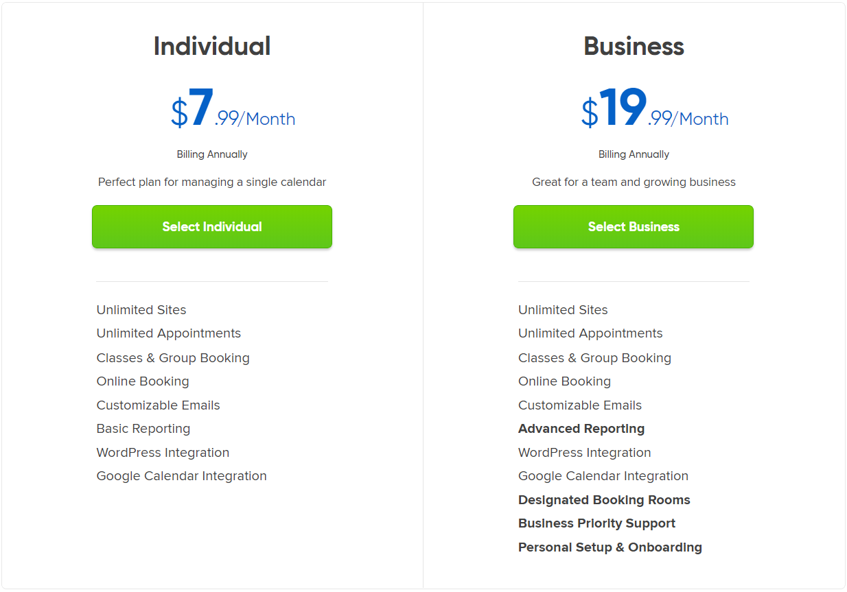Start Booking Review- Pricing
