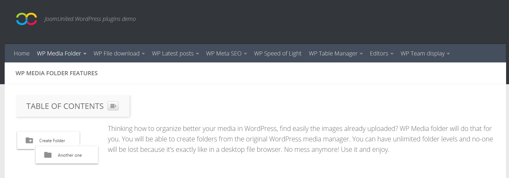 WP Media Folder Review– JoomUnited WordPress demo