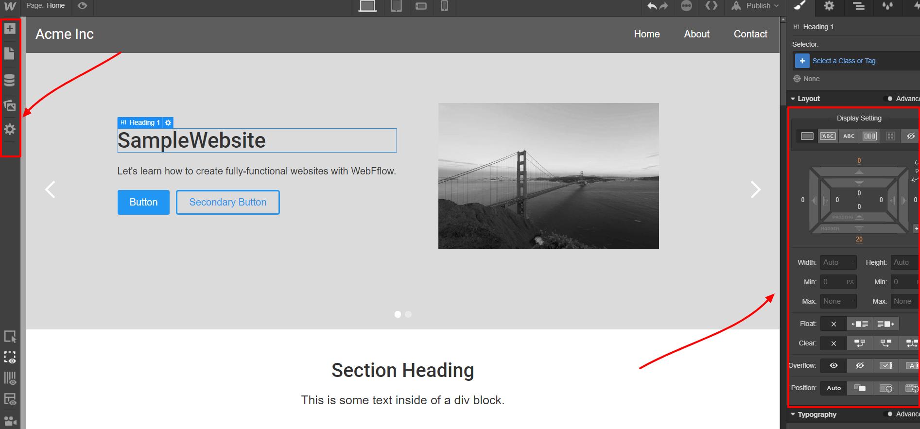 Webflow - Website Designer Tool