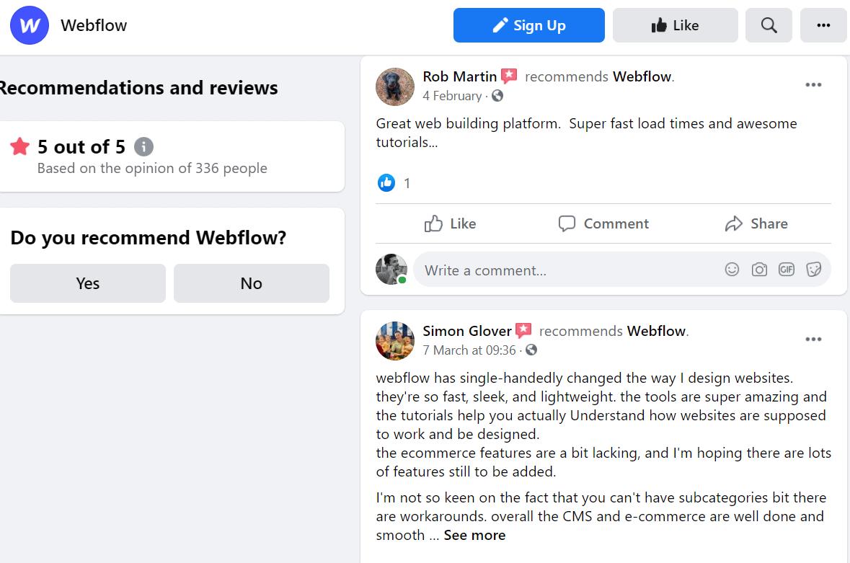 webflow facebook reviews