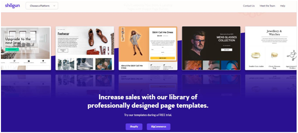 Shogun page builder with coupons