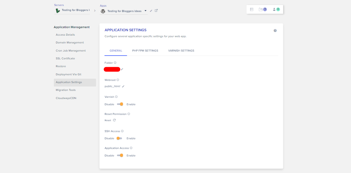 Cloudways Review- Application Settings