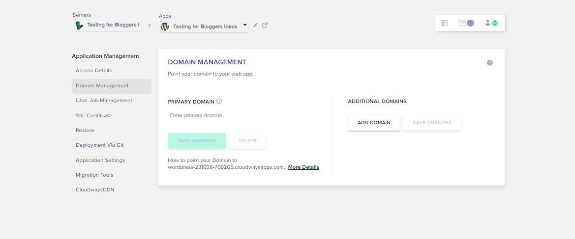 Cloudways Review- Domain Management
