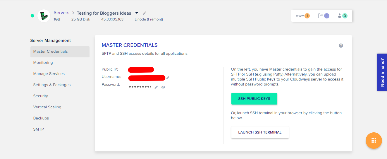 Cloudways Review- Master Credentials