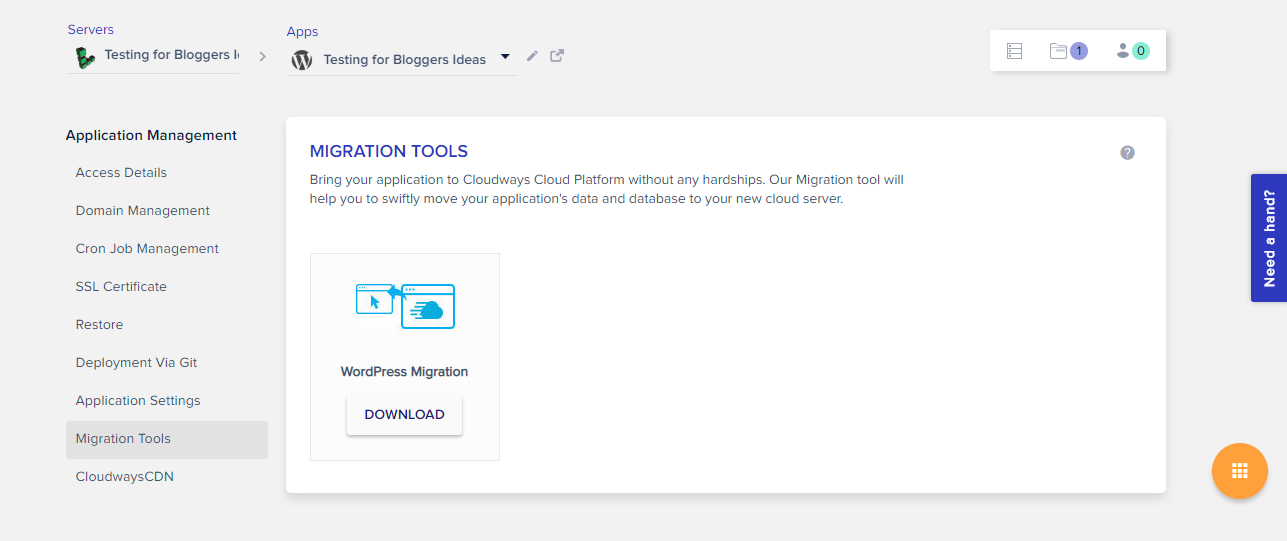Cloudways Review- Migration Tool