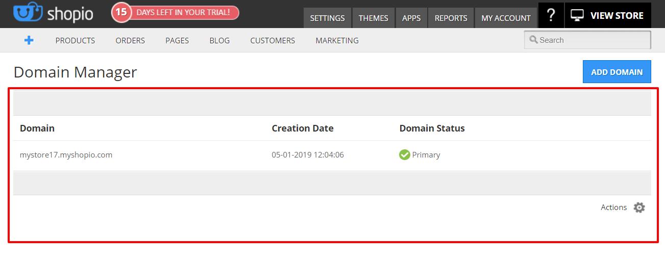Shopio Review- Domain Manager