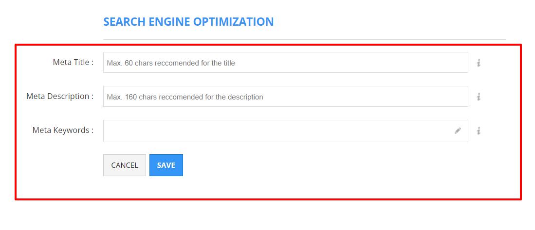 Shopio Review- SEO (Search Engine Optimization) Feature