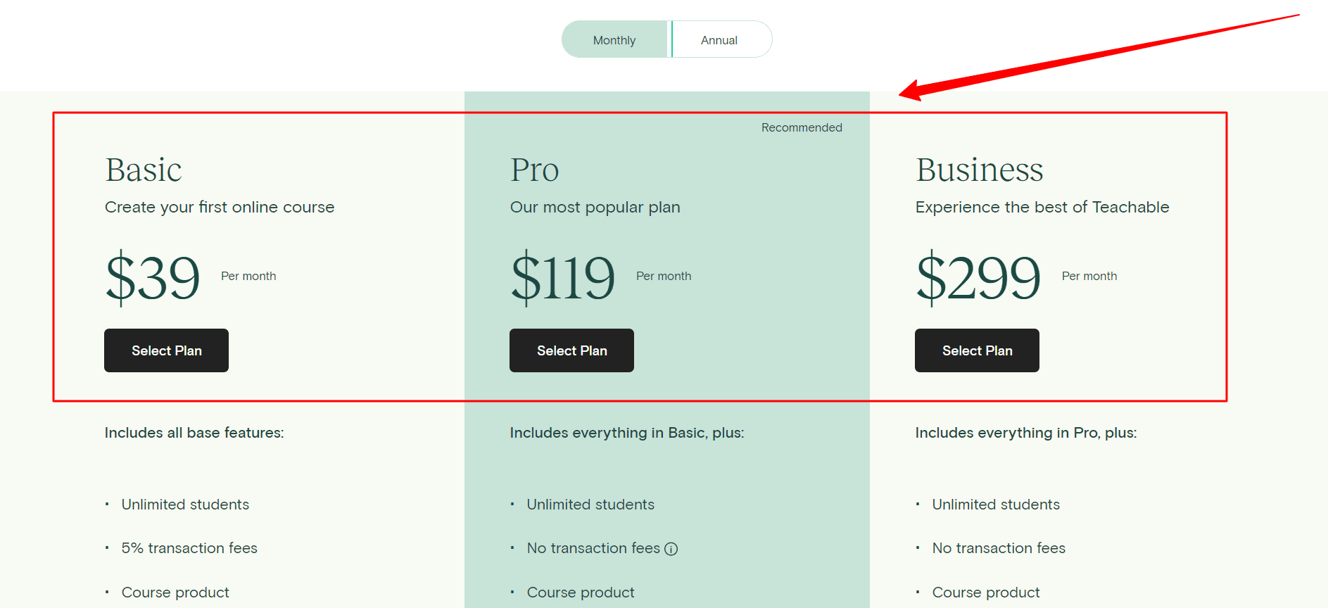 Teachable-Pricing-plans