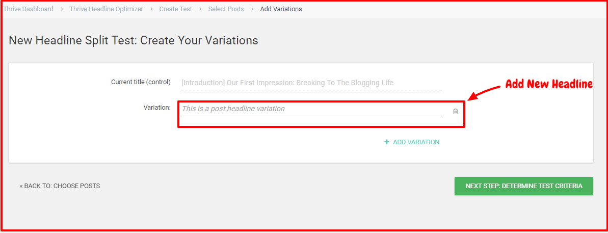 Thrive Headline Optimizer Review- Add New Headline