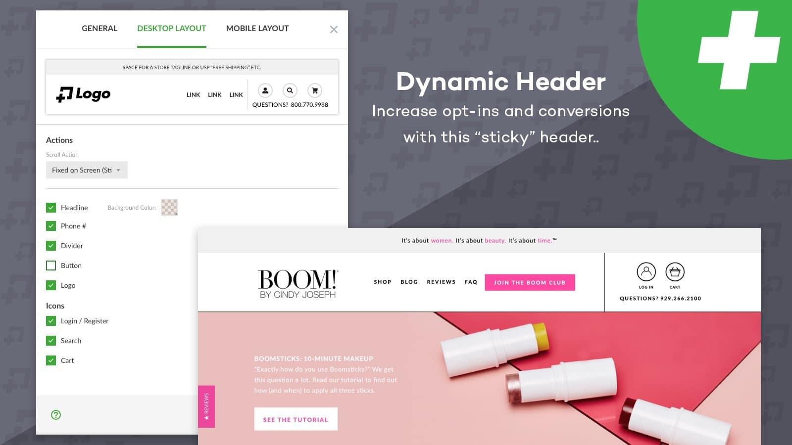 Zipify pages dynamic header