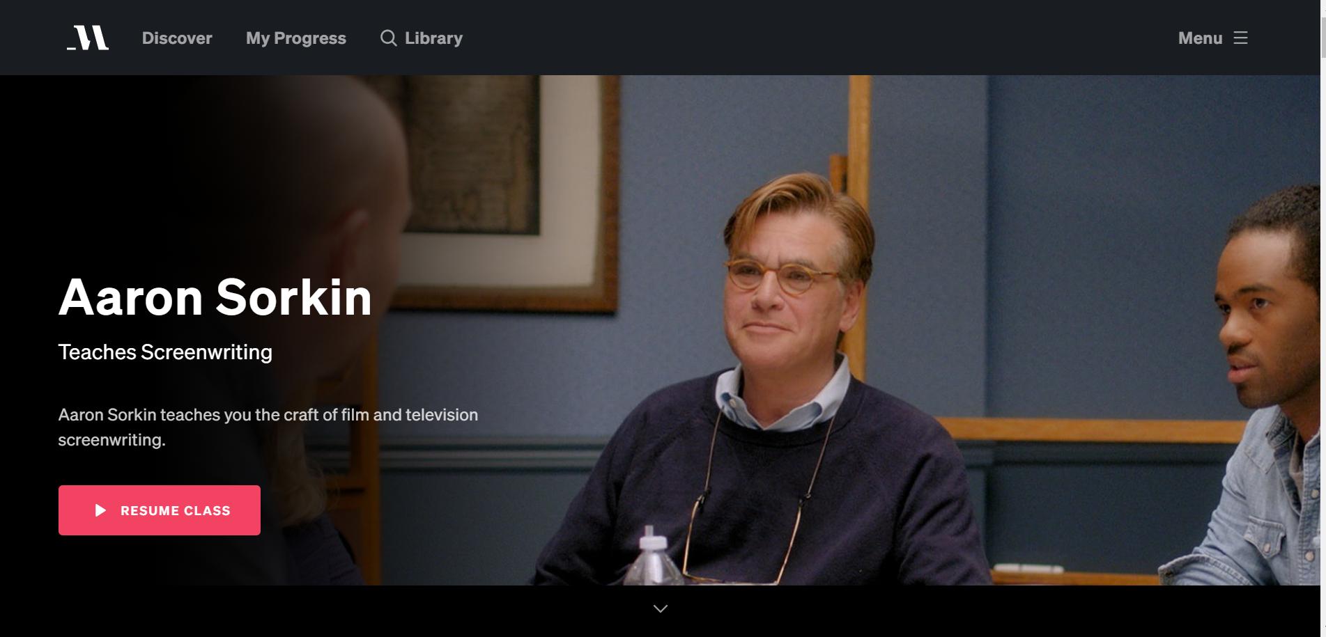 Aaron Sorkin Teaches Screenwriting MasterClass