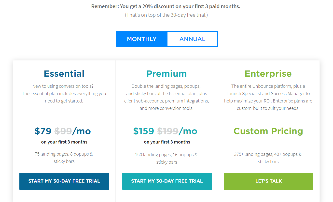 Best Conversion Rate Optimization Tools- Unbounce Pricing