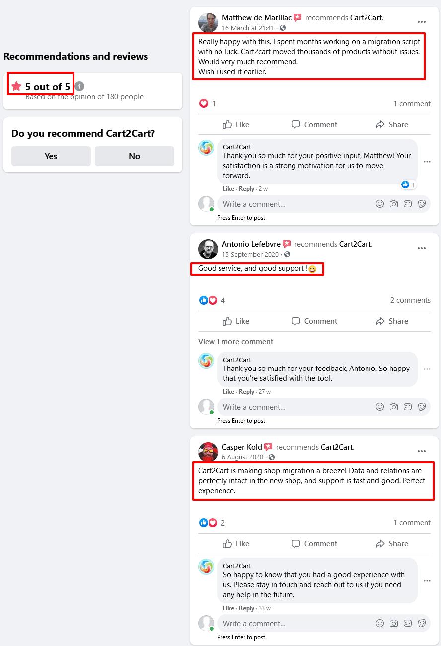 Cart2Cart Review Facebook