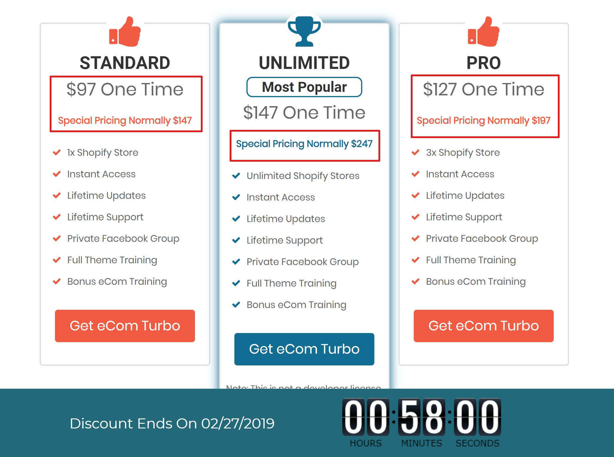 Ecomturbo vs Booster theme vs Turbo theme Pricing