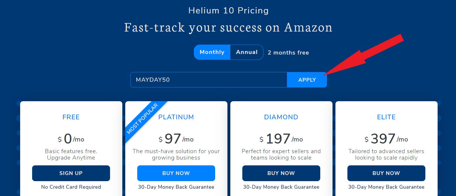 Helium 10 apply coupon code
