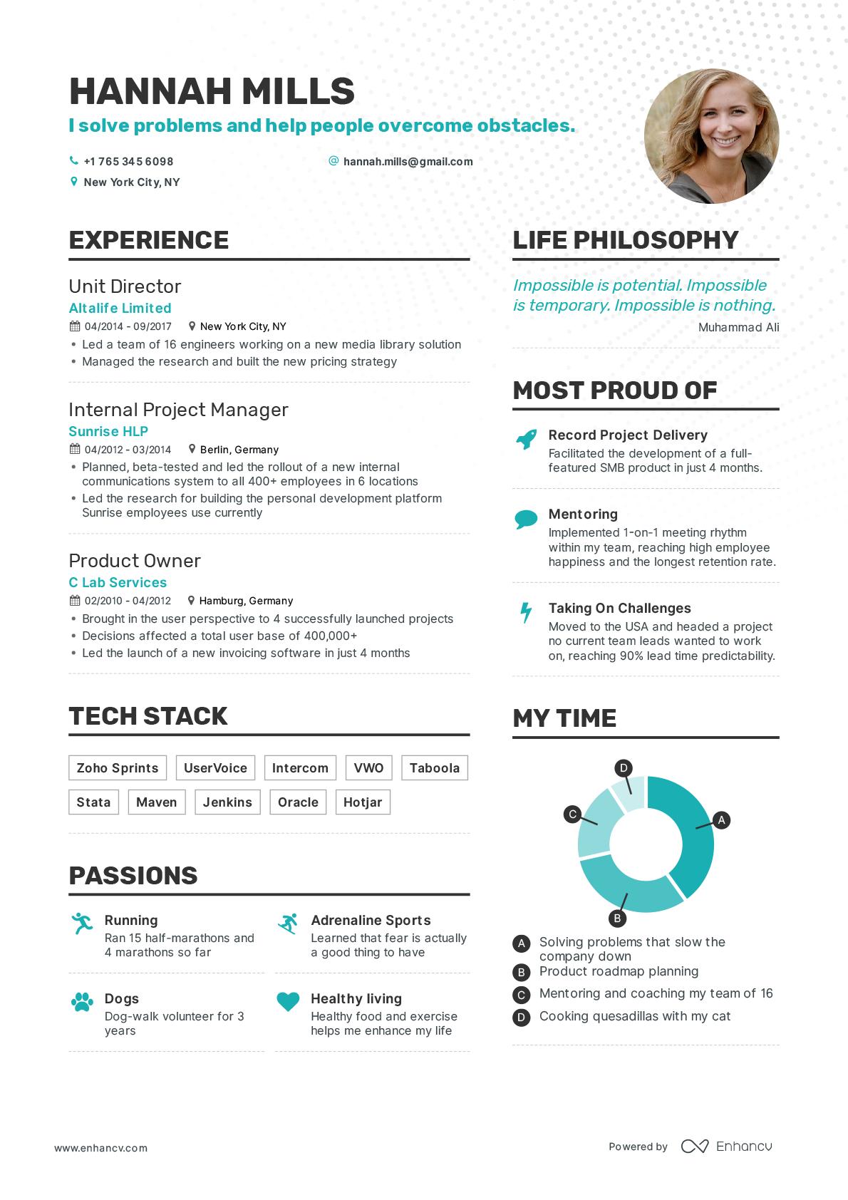 Enhancv resume builder - Resume examples