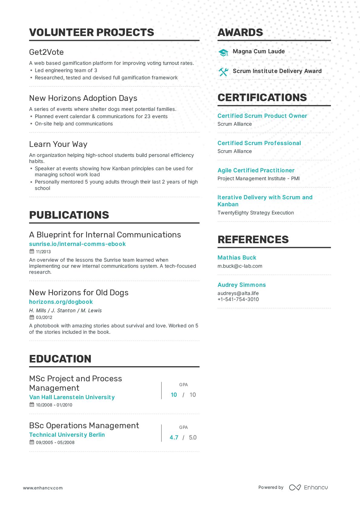 Enhancv resume builder - Resume samples