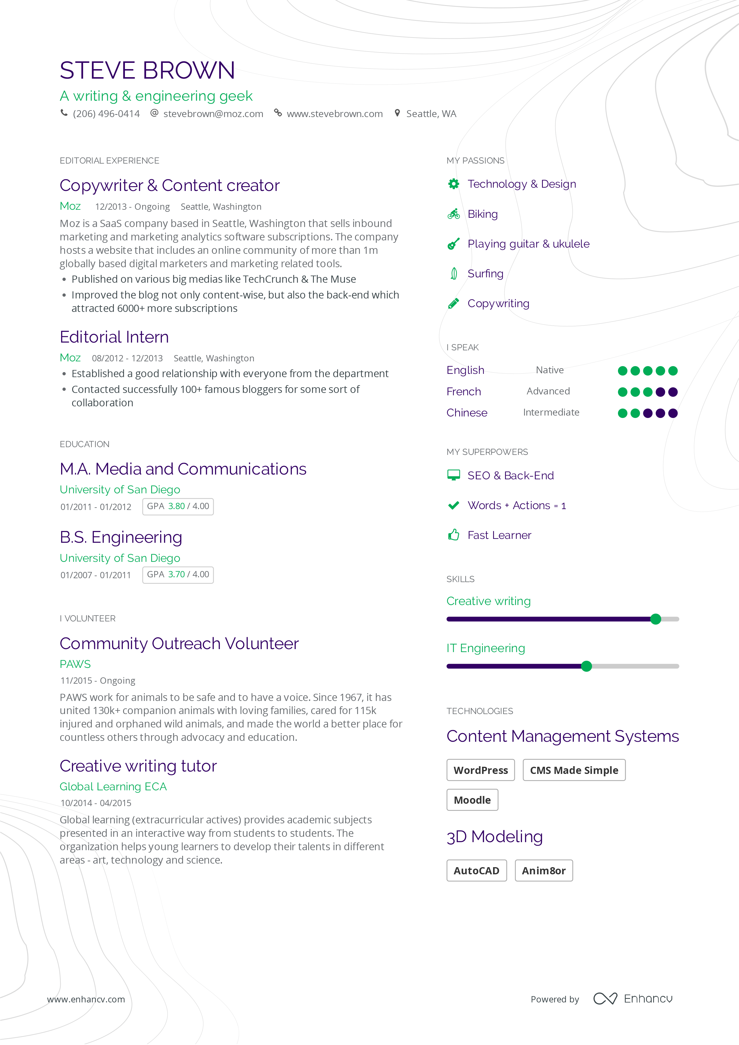 Enhancv resume builder - More Resume samples