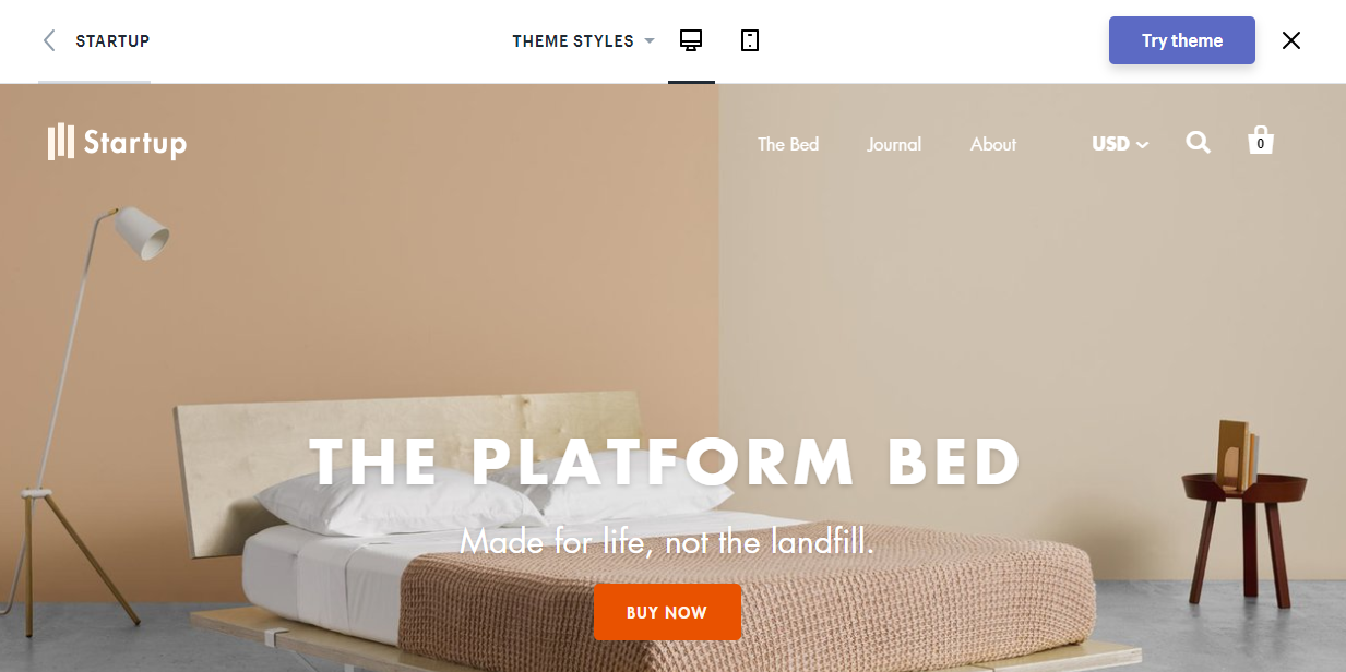 best shopify themes- startup