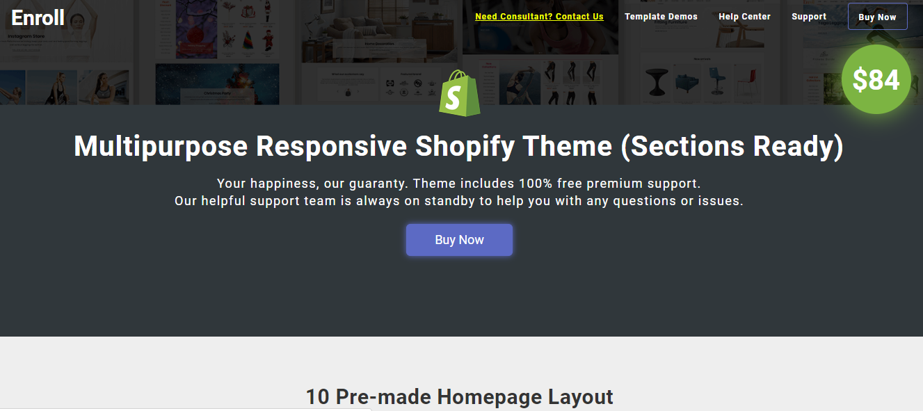 Best Shopify Theme- Enroll